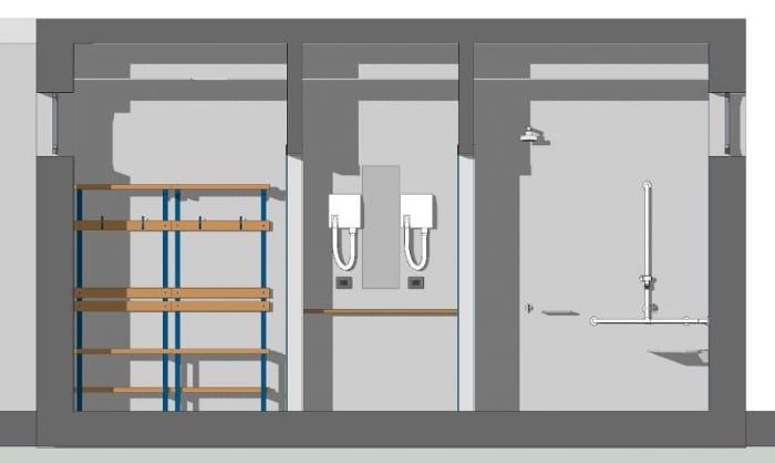Arquitetura esportiva projeto de quadra de tênis e vestiário-vestiários_Corte-C-C_programa de arquitetura BIM-Edificius