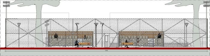 Arquitetura esportiva projeto de quadra de tênis e vestiário_Corte-A-A_programa de arquitetura BIM-Edificius