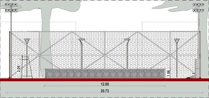 Arquitetura esportiva projeto de quadra de tênis e vestiário_Corte-B-B_programa de arquitetura BIM-Edificius