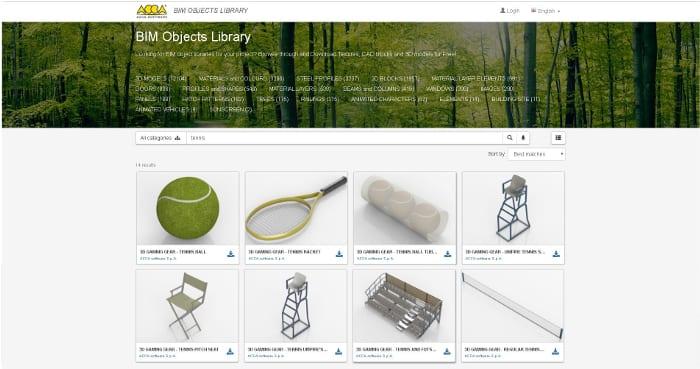 Biblioteca Objetos BIM ACCA software_quadra de tênis