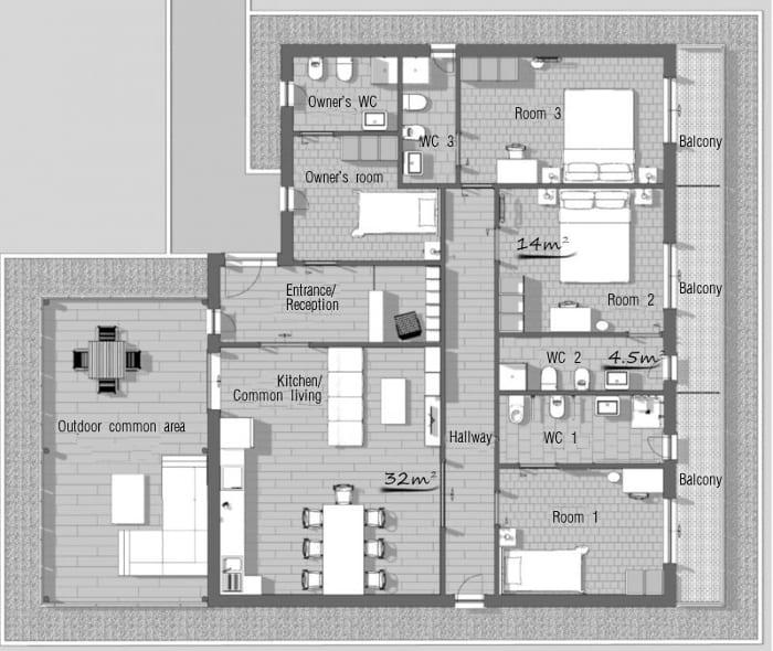 Desenho de bed-and-breakfast-Planta com medidas Programa de arquitetura 3D-BIM-Edificius