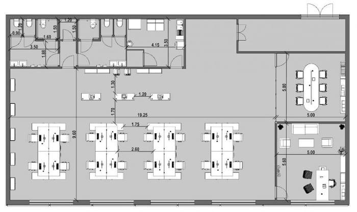 Planta de escritório - Prancha gráfica realizada com Edificius, software de projeto arquitetônico BIM