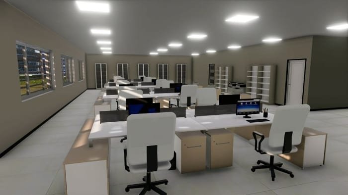 Render detalhes projeto escritório - Software BIM projeto arquitetônico