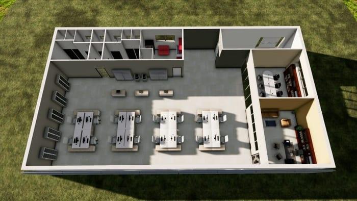 Render do alto escritório open space - Realizado com software BIM projeto arquitetônico - Edificius