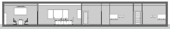 Arquitetura de escritório_Corte C C_programa de arquitetura BIM Edificius