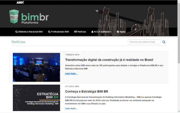 A imagem mostra a homepage da Plataforma BIM BR