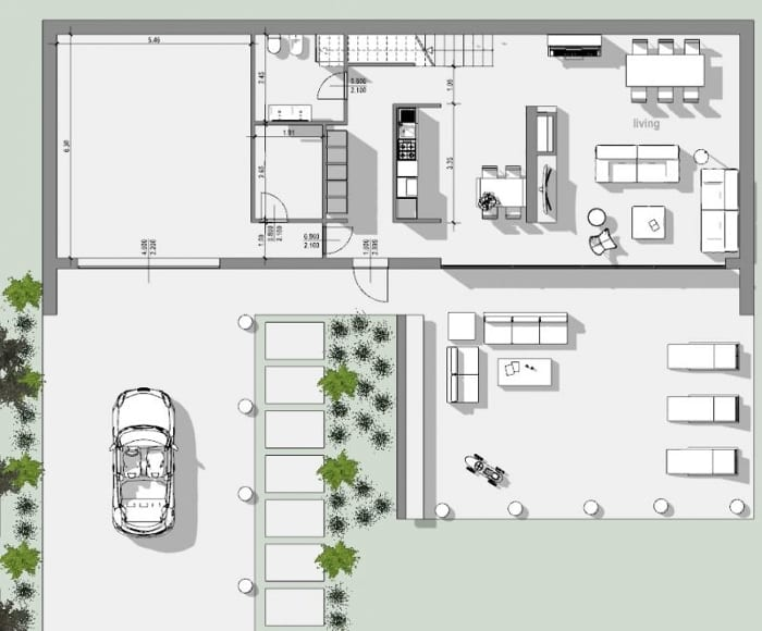 Projeto de residência unifamiliar-planta-piso térreo-programa de arquitetura BIM-Edificius