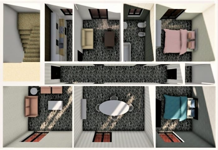 Reforma de-apartamento_Render do alto ANTES-programa de arquitetura BIM_Edificius