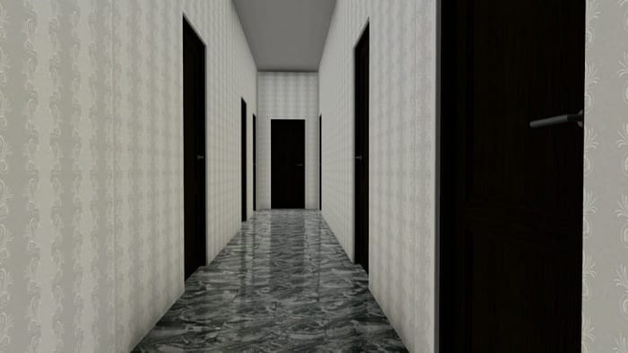 Reforma de-apartamento_Render internos corredor ANTES programa de arquitetura BIM_Edificius