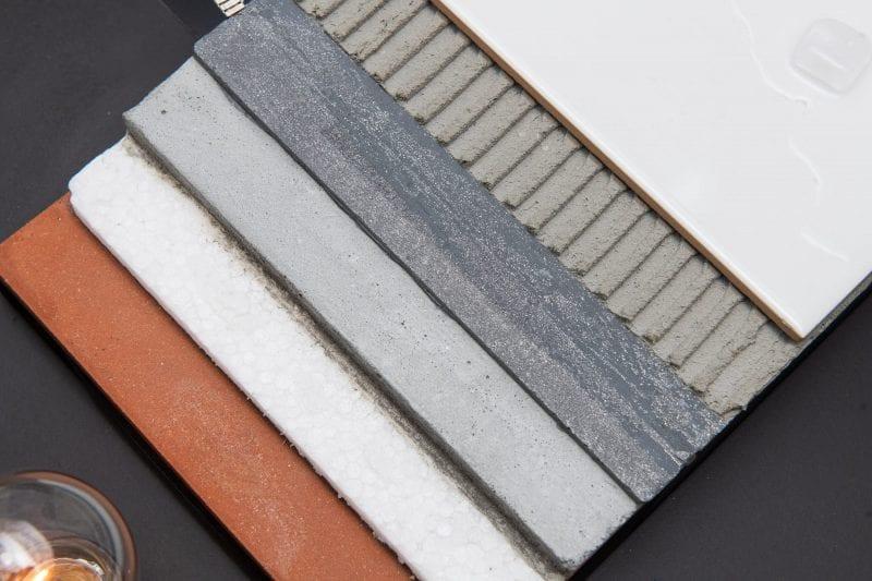 Detalhe de grafeno no concreto