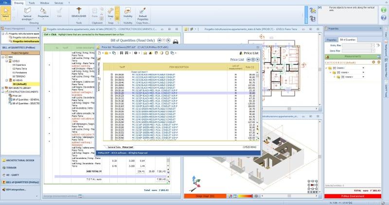 Lista de preços para orçamento programa de arquitetura BIM Edificius