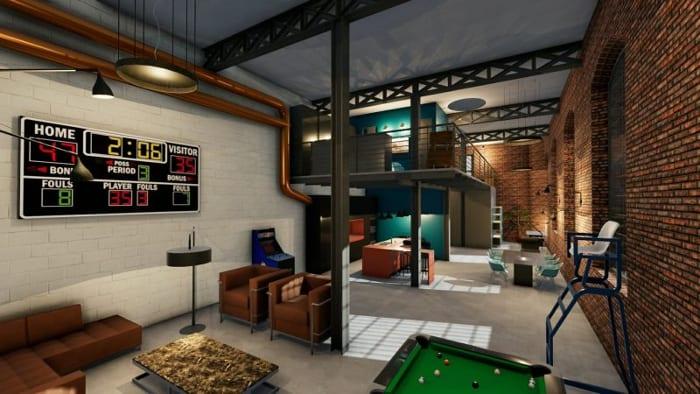 Projeto de loft-render-do alto área de estar programa de arquitetura-BIM-Edificius