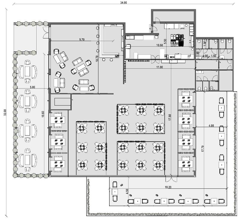 Projeto de restaurante-planta programa de arquitetura BIM Edifcius