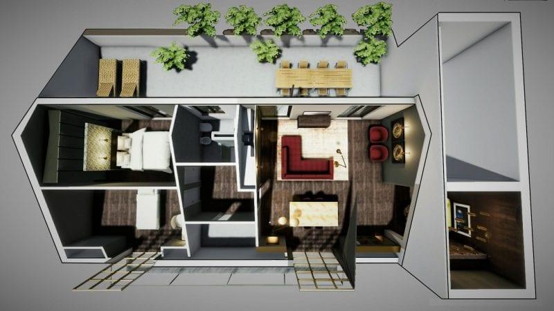 Reforma sótão-render planta programa de arquitetura BIM-Edificius
