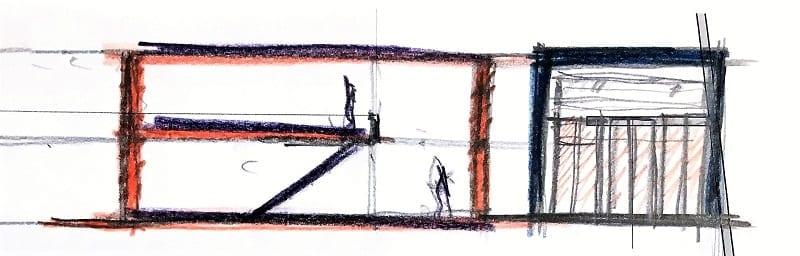 Projetos de casas geminadas 4 dicas com desenhos DWG_esboço-corte_software BIM para arquitetura-Edificius
