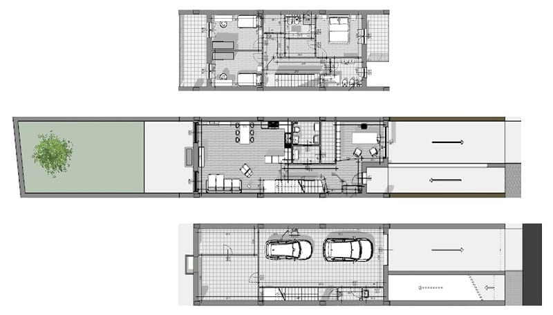 Projetos de casas geminadas 4 dicas com desenhos DWG_planta_software BIM para arquitetura-Edificius
