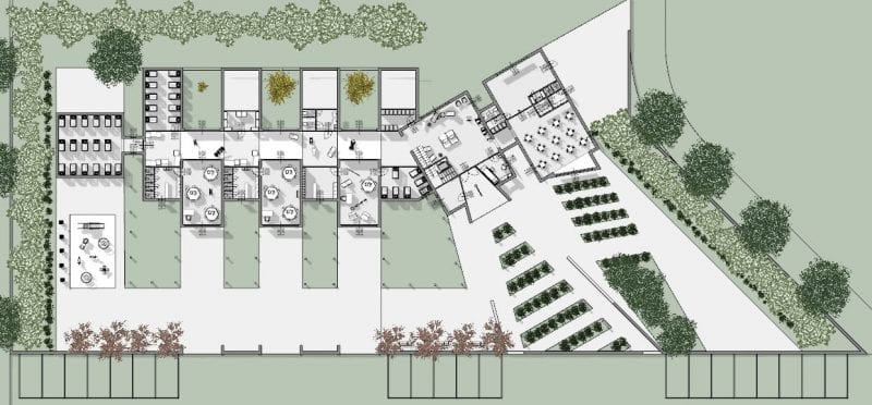 Projeto arquitetônico creche-planta-piso térreo_software BIM para arquitetura 3d software_edificius