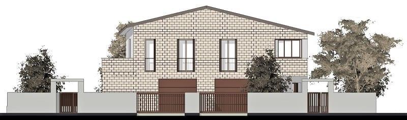 Projeto de casa bifamiliar_elevação_programa BIM de arquitetura 3D-Edificius