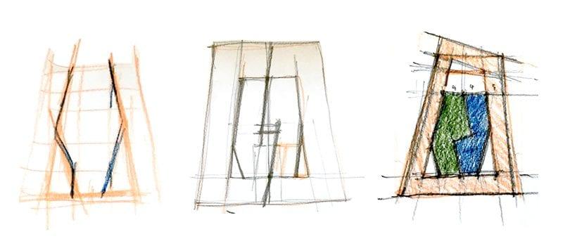 Projeto de casa bifamiliar_esquemas colocação-edifício-no lote de construção programa BIM de arquitetura 3D Edificius