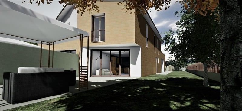 Projeto de casa bifamiliar_render-jardim_programa BIM de arquitetura 3D-Edificius