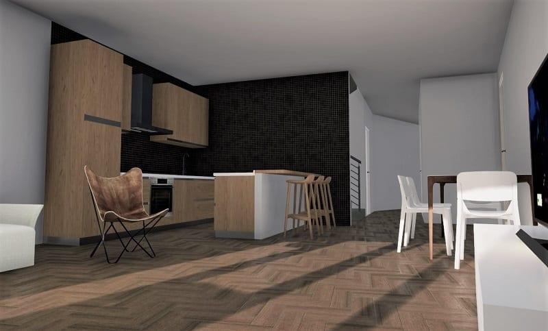 Projeto de casa bifamiliar_render-sala de estar cozinha_programa BIM de arquitetura 3D-Edificius
