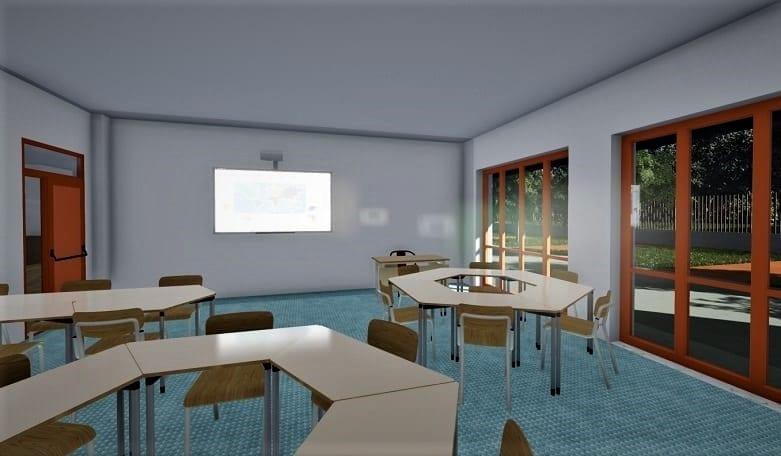 Projetar escola - Render sala de aula realizado com software projeto arquitetônico BIM Edificius