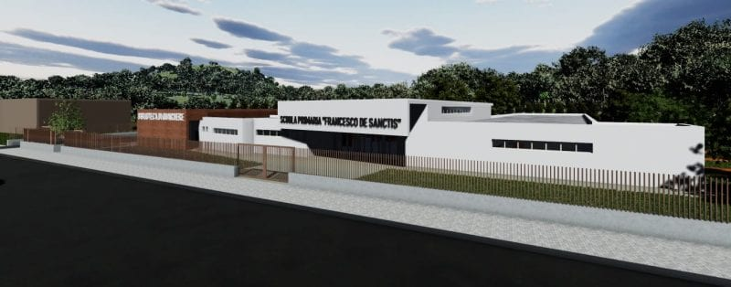 Projeto de escola primária-Render-entrada-principal_programa BIM de arquitetura 3D Edificius