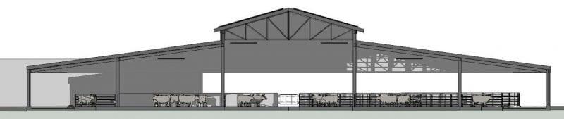 Projeto estábulo — Corte A-A — Realizado com Edificius, software de projeto arquitetônico BIM