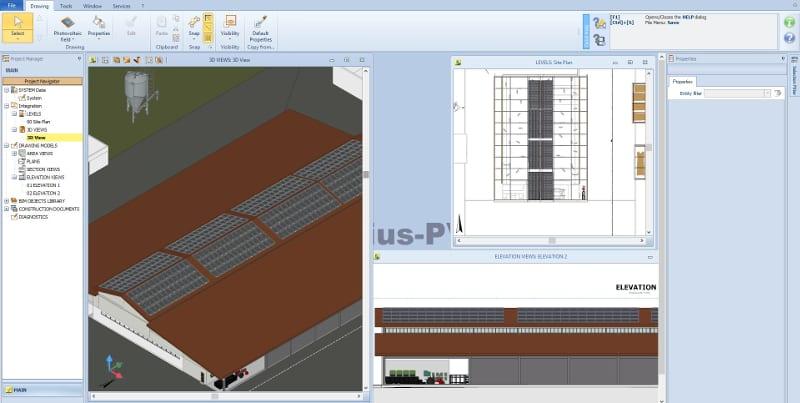 Solarius PV BIM modelo 3D instalação fotovoltaica estábulo