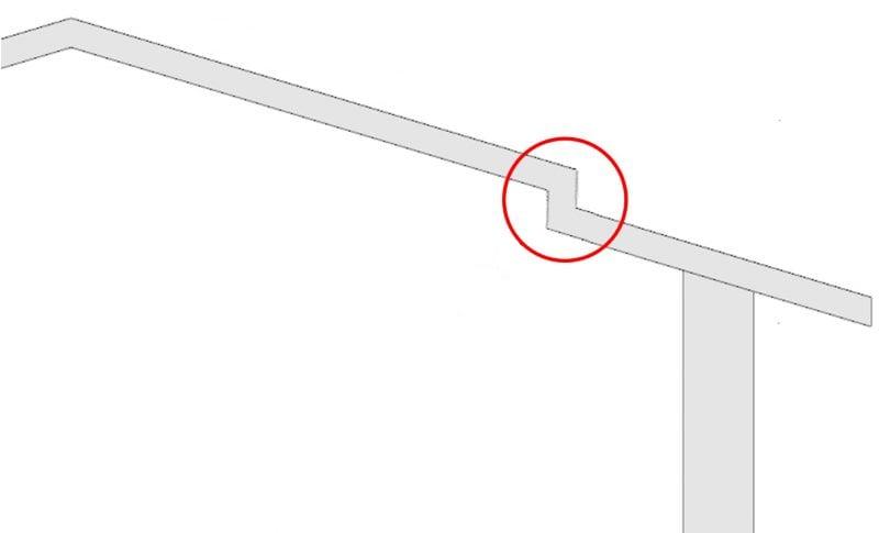 Como desenhar um telhado-Interrupção de água
