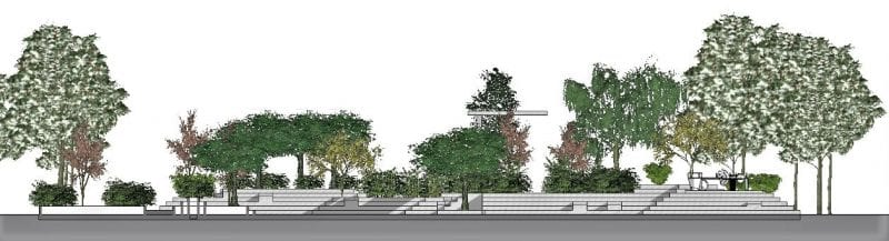Desenho espaços verdes urbanos_elevação_programa BIM de arquitetura 3D Edificius