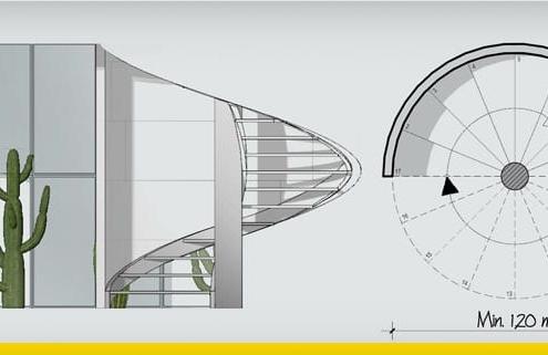 Escada em caracol: guia de projeto_programa BIM de arquitetura 3D_Edificius