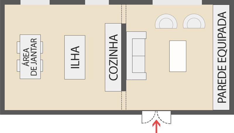 A imagem mostra uma cozinha com sala de estar parcialmente integradas