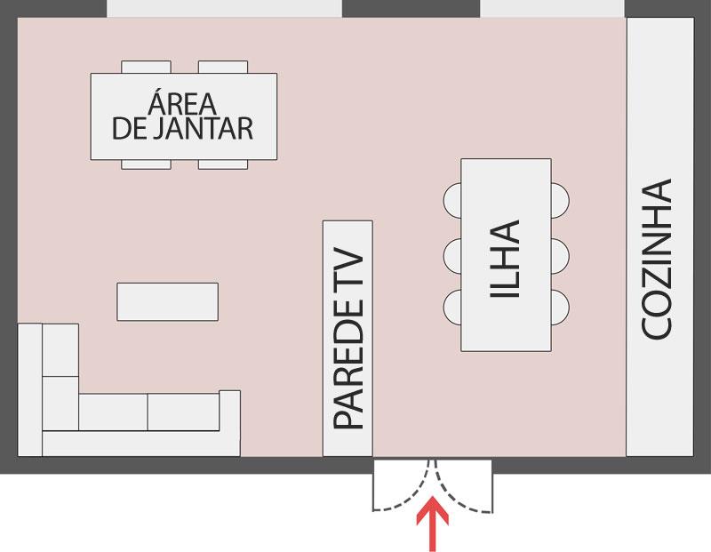 A imagem mostra uma cozinha e sala de estar totalmente integradas