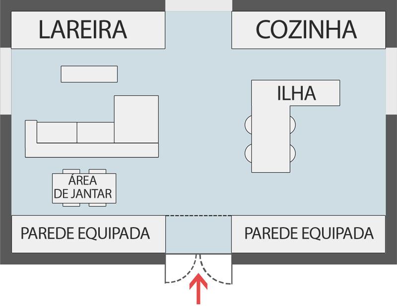 A imagem mostra uma cozinha com sala totalmente integradas
