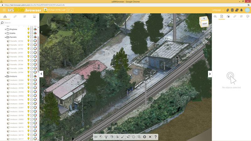 A imagem mostra a federacao do modelo IFC Rail com nuvem de pontos