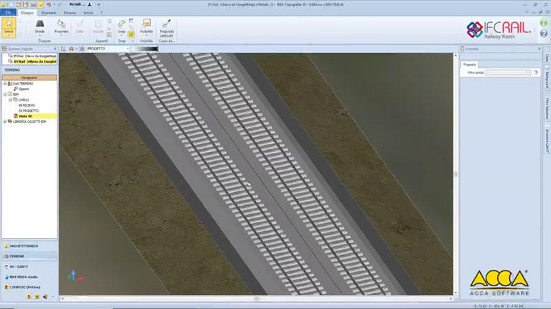 A imagem mostra o IFC Rail Track para geracao da rede ferroviaria
