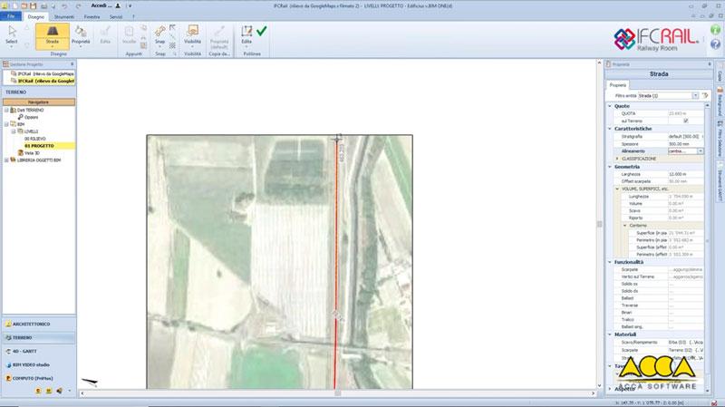 A imagem mostra o IfcAlignment para geracao das diretrizes