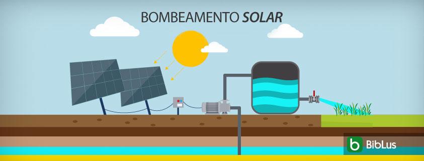 A imagem mostra um sistema de bombeamento solar