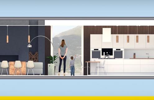 A imagem mostra o render de uma cozinha americana realizado com Edificius