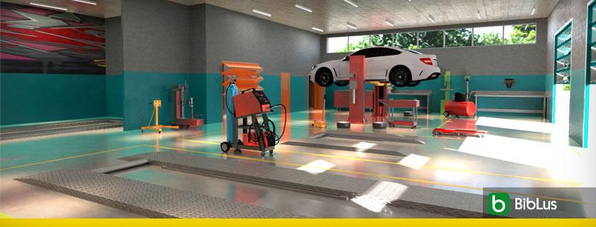 A imagem mostra o render de uma oficina mecanica realizado com Edificius