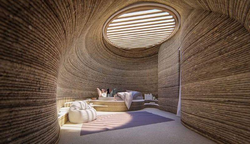 A imagem se refere ao prototipo de habitação sustentável realizado por Mario Cucinella Architects e WASP