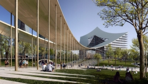 A imagem mostra um render do novo bairro de Milão