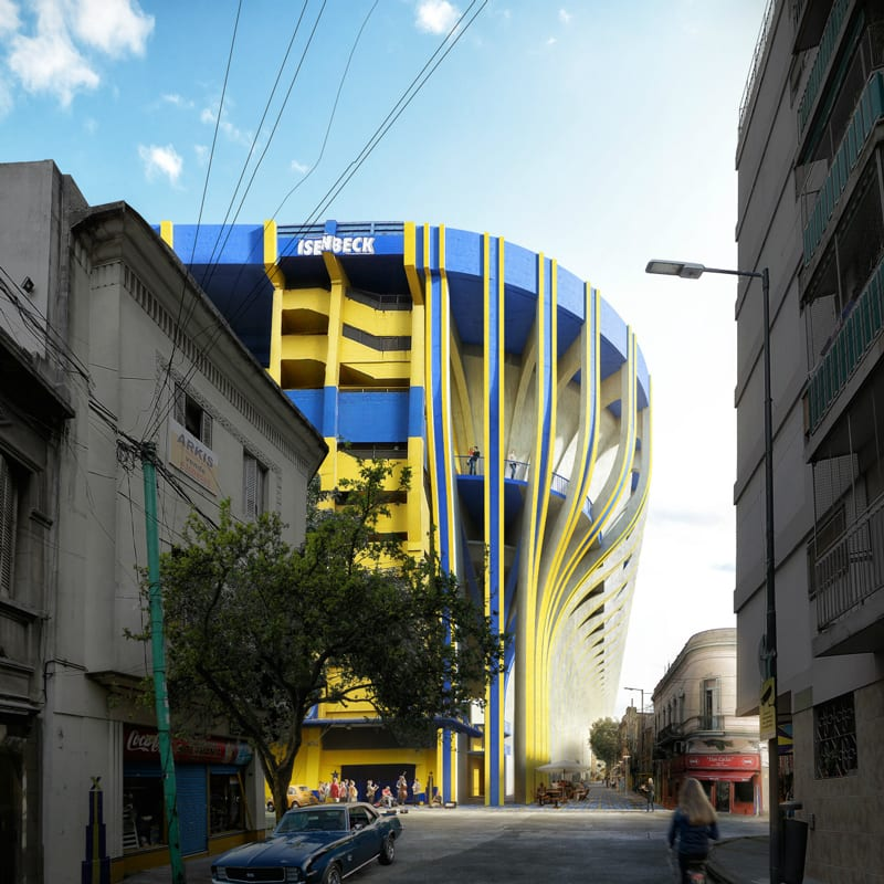 """A imagem mosta uma renderizacao do estadio """"La Bombonera"""" vista a partir das ruas ao redor"""