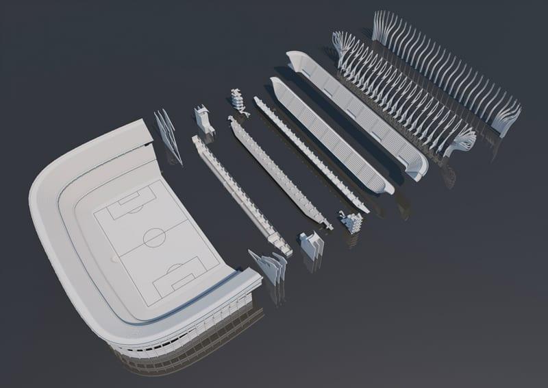 """A imagem mostra um modelo de projeto do estadio """"La Bombonera"""" de Buenos Aires"""
