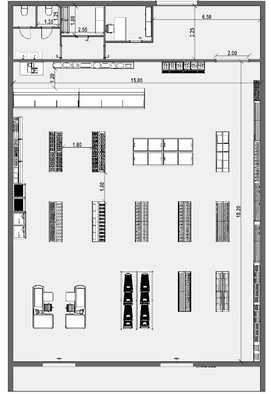 Planta de supermercado - Prancha gráfica realizada com software de projeto arquitetônico BIM