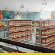 A imagem mostra o render de um supermercado