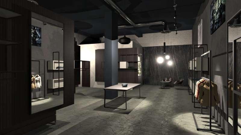 A imagem mostra a renderização de uma loja vista a partir do espaço de exposição e de vendas