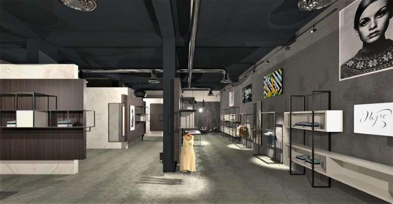 A imagem mostra a renderização de uma loja vista a partir da entrada