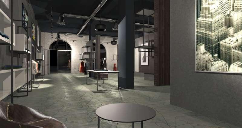 A imagem mostra a renderização de uma loja vista a partir da sala de atendimento